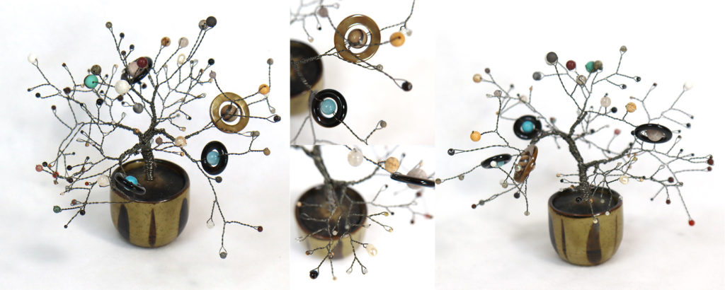 Several views of a sculpture made from wire and semiprecious stone beads in the shape of a tree.